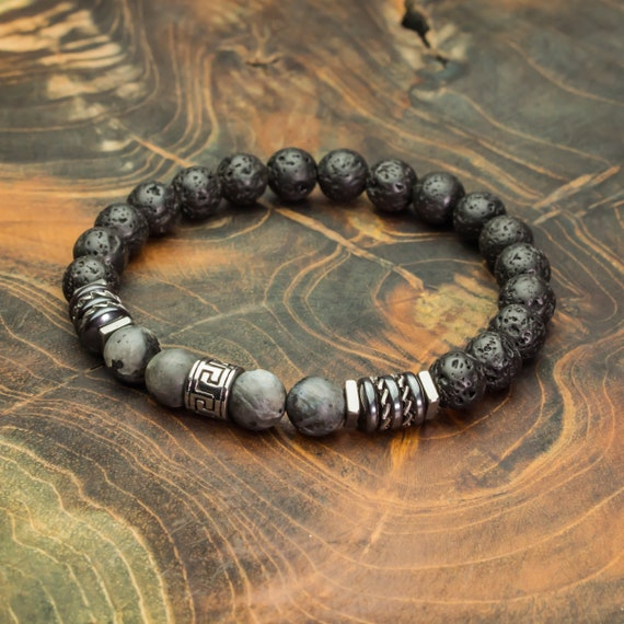 Men's bracelet beads 8mm labradorite stones grey matte lava Volcanic black washer Hematite stainless steel Style Tibetan made in France