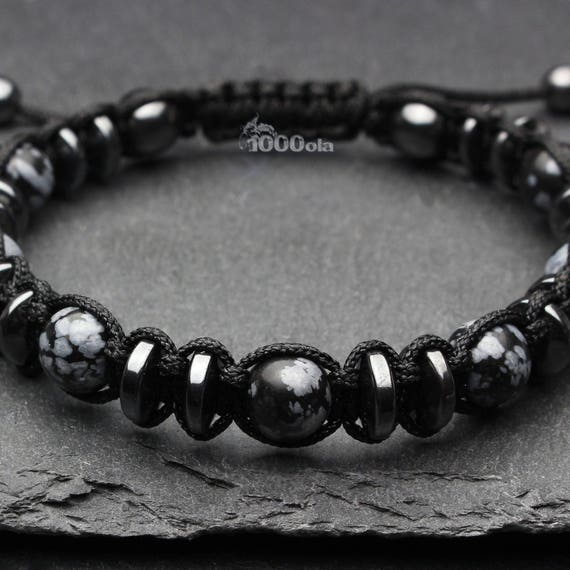 Jewelry high end bracelet men beads Ø 8mm natural stone obsidian black/grey Hematite nylon yarn
