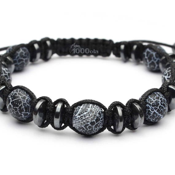 Jewelry high-end bracelet men beads Ø 10MM natural stone agate Onyx matte black