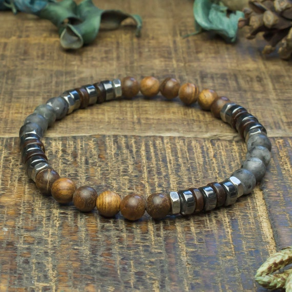 Man/woman Beads Bracelet Ø6mm stone Larvikite Labradorite wood sandalwood Hematite Metal stainless/inox