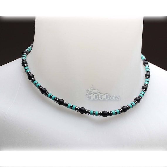Jewelry high end collar man pierre natural true stabilized Turquoise Agate/Onyx Black 6mm hematite 4mm stainless metal