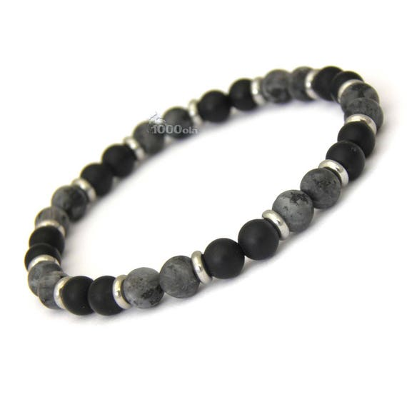 Fashion trendy BRACELET men beads matte black Agate (Onyx) + grey Larvikite Labradorite 6mm + Metal rings