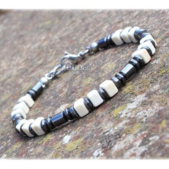 Elegant BRACELET men/Men's beads 4 mm stones natural hematite black white howlite cube 5x5mm clasp