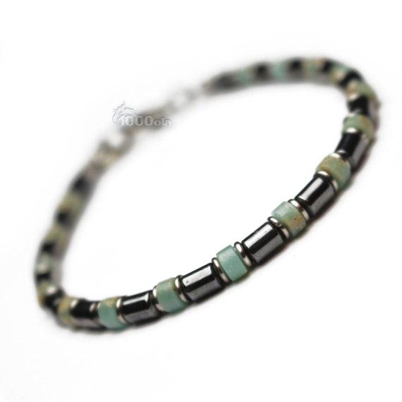 New BRACELET men/women stone Natural Serpentine hematite Black Metal clasp rings beads stainless/inox P118