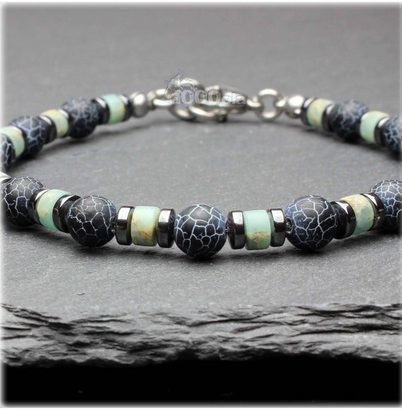 Beautiful BRACELET men/Men's beads Ø6mm stones natural Spider Web Agate beads 4 mm blue-beige Serpentine stainless steel