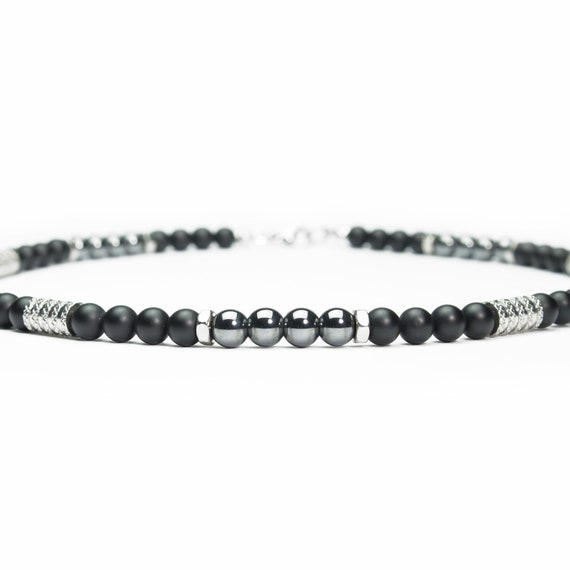 Necklace boho men beads Ø 6mm stone gemstone Agate black Hematite Hexagon rings stainless steel tube style silver colored Tibetan