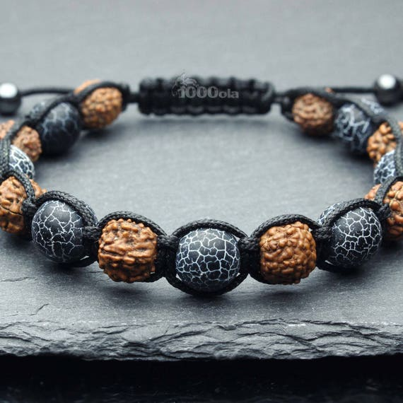 Shambala style bracelet men's/men's beads Ø 9-10MM wood seeds Rudraksha stone agate black Spider Web
