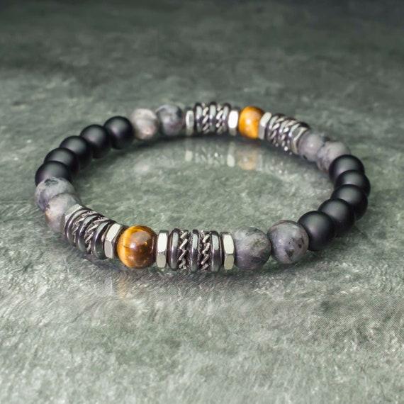 Bracelet pearls 8mm natural stones Eye Tiger Labradorite Matt grey Agate/Onyx black Hematite Stainless steel Made in France 1000ola