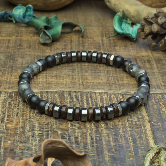 Man/woman beads Ø6mm Larvikite Labradorite Agate/Onyx stone bracelet matte black wood sandalwood Hematite Hexagon stainless/inox Metal
