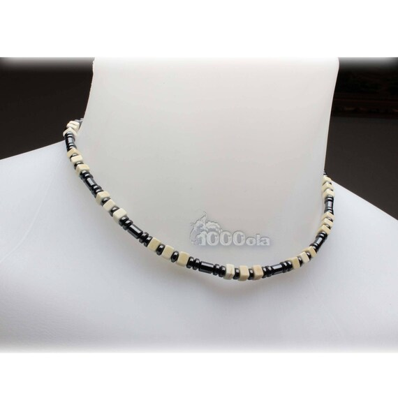 Beautiful jewelry top of range collar man/woman in stones natural Howlite white 5x5x3mm hematite metal stainless steel