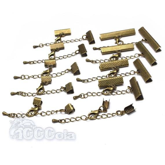 """Lot 10 ensembles Couleur Bronze  """"Embouts griffe + Chaîne extension + Fermoir Mousqueton """" Création Bijoux Bracelet Collier"""