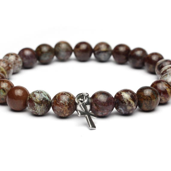 Sublime bracelet man/woman beads 8mm natural stone gemstone Opal cross stainless steel/metal stainless steel handmade 1000ola made in France