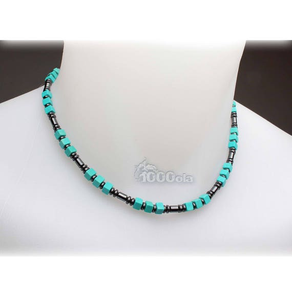 Beautiful jewelry top of range collar man/woman in stones natural Howlite turquoise 5x5x3mm hematite metal stainless steel