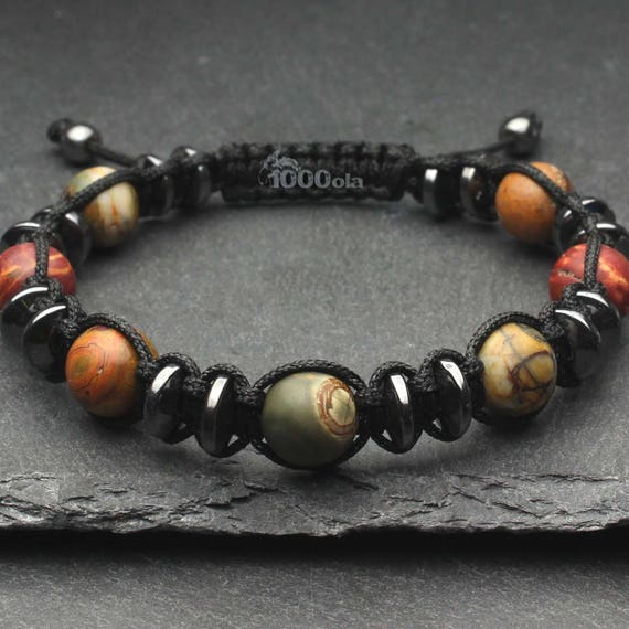 For men men's men's bracelet/beads 10MM stone Jaspe Picasso Hematite made in France P202