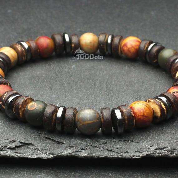 Gorgeous bracelet men/women beads Ø 8mm natural stone Jaspe Picasso, coconut wood/Coco, Hematite made in France