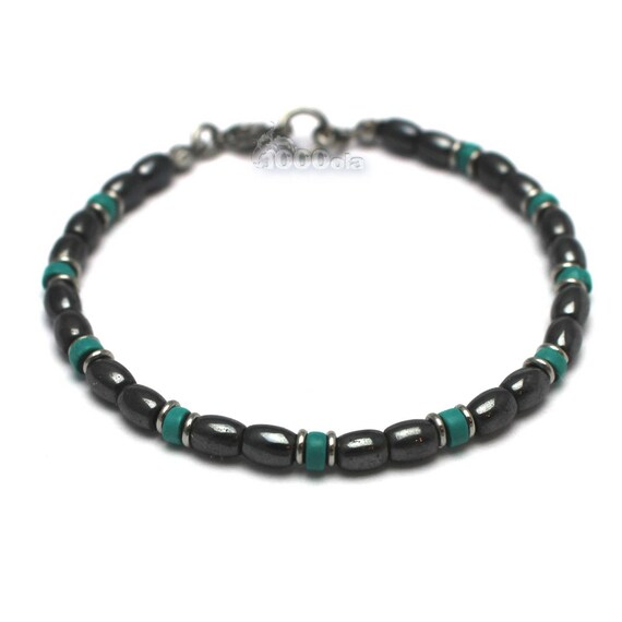 Elegant BRACELET man/woman beads 4 mm stone natural genuine stabilized Turquoise hematite black stainless steel lobster clasp