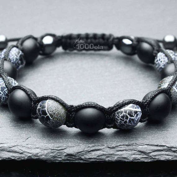 Fashionable men's bracelet beads Ø 10MM natural stone Onyx black matte agate, Spider Web agate