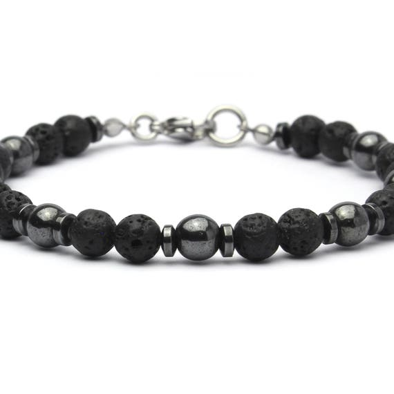 Beautiful Men's Bracelet Pearls - 6mm Natural Stone Black Volcanic Lava Hematite Stainless Steel Musket Made Main