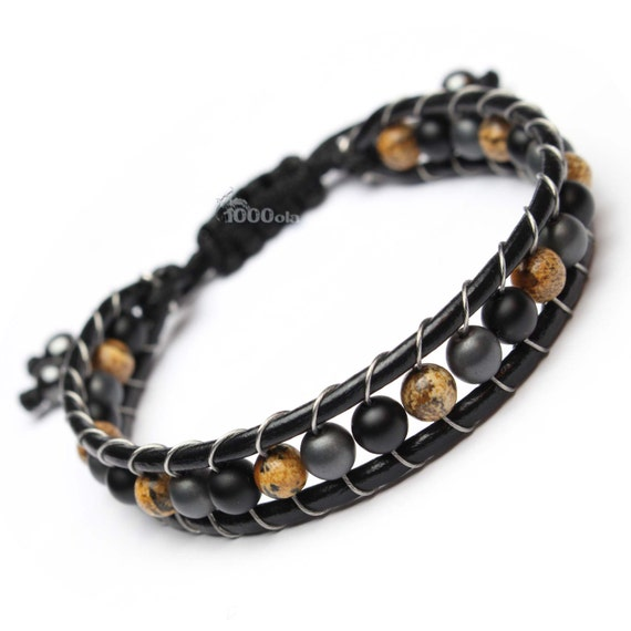 Men's Shambala bracelet genuine leather beads Ø6mm natural stone Picasso Jasper Hematite grey agate/Onyx matte black color