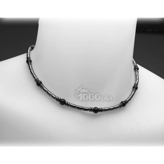 Gorgeous jewelry high end necklace men natural stone agate/Black Onyx 6mm Hematite 4mm metal stainless steel