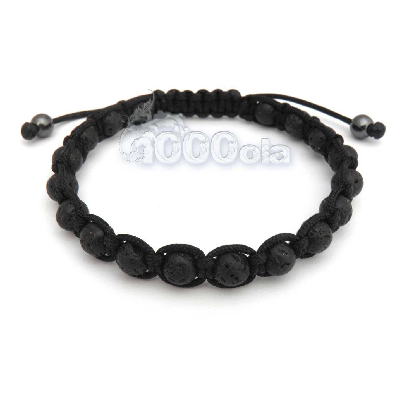 Bracelet homme perle volcanique