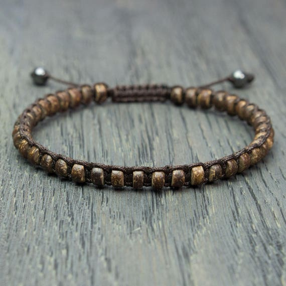 Men's Tibetan STYLE Mala Pearls Men's Bracelet - 5mm Natural Wood Coco/Cocotier 2 pearls hematite stone brown nylon thread