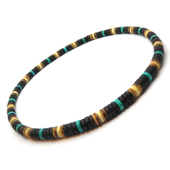 Male/female surfer/surf style necklace beads stone natural genuine Turquoise stabilized wood coconut/coconut Ø 8 mm CS 2