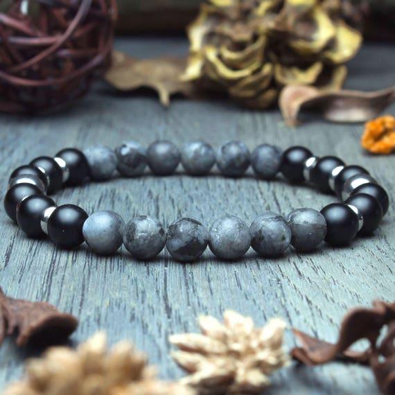 Bracelet men beads natural gemstone Larvikite Labradorite grey matte Agate/Onyx ring stainless steel made handmade creation 1000ola Ø8mm