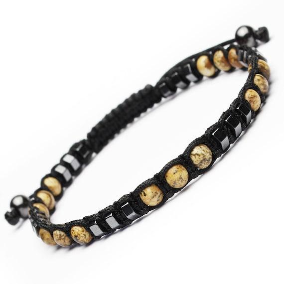 Stylish bracelet StyleShamballa men beads Ø 4mm natural stone Jaspe Picasso Hematite wire nylon black handmade 1000ola