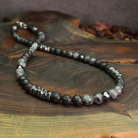 Men's Pearls Necklace 6mm Natural Stone Larvikite Labradorite Matte Grey Lava Volcanic Black Washers Hematite Metal INOX Ancient Style