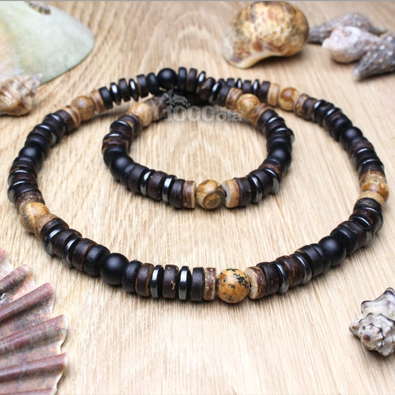 Surfer/surf ing collar man/men's pearls - 8mm Natural stone Jaspe/Jasper Picasso Agate Mat black Cocotier Wood/Coco - 8mm P212