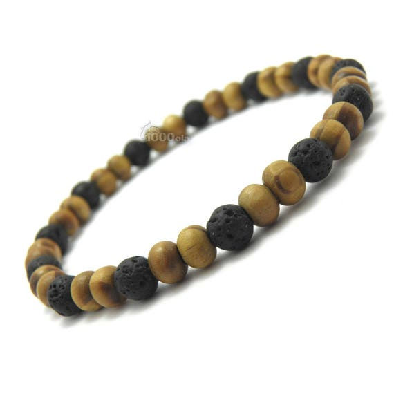 Male/female bracelet natural beads Ø 6 mm Brown wood, lava volcanic black P52_01