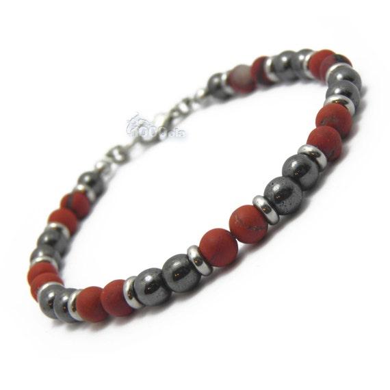 Elegant BRACELET man/Men's pearls 6 mm stones natural Jasper Matt Rouge-hematite-Inox/stainless P70 carabiner clasp