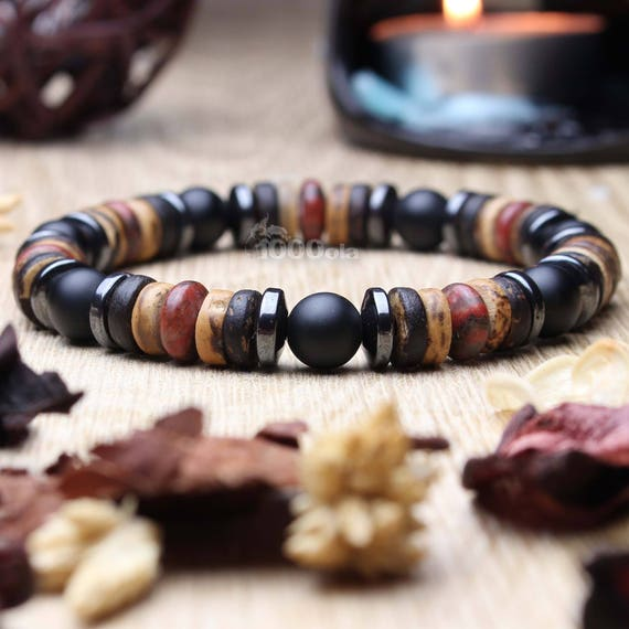 Sublime Bracelet men beads Ø 8 mm stone natural Jasper/Jasper Picasso red gate black Mate Hematite, wood coconut/coconut
