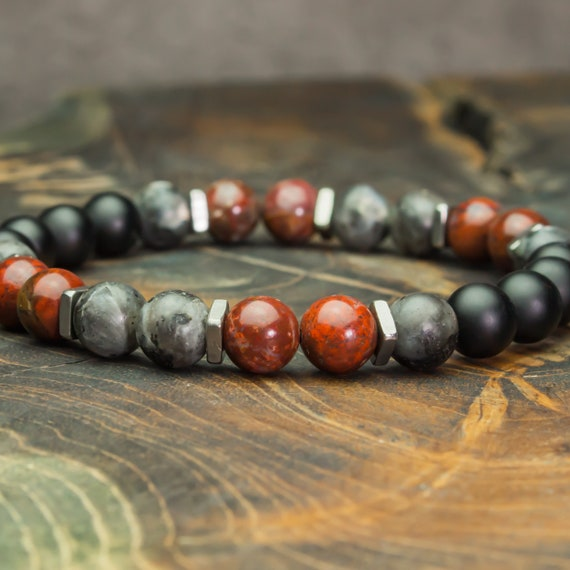 Men's Pearl Bracelet - 8mm Gemstones Jaspe Red Larvikite Labradorite Agate Black Matte Style Tibetan Steel stainless Steel Made in Frcace 1000ola