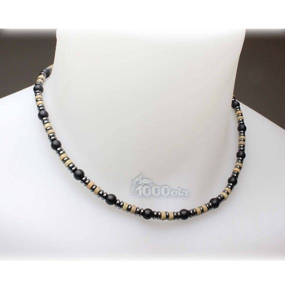 Jewelry high end collar man pierre natural beige 4mm Serpentine Agate/Onyx Black 6mm hematite 4mm stainless metal