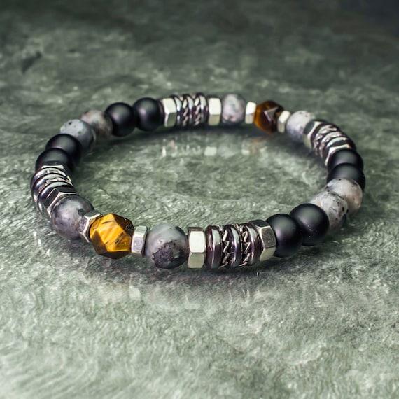 Bracelet pearls 8mm natural stones Eye Tiger Facet Labradorite Matt grey Agate/Onyx black Hematite Stainless steel Made in France 1000ola