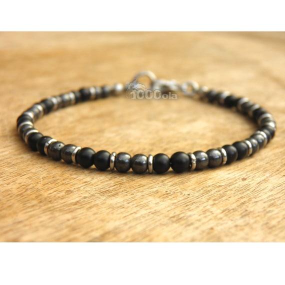New men/women BRACELET beads 4 mm natural stone Agate hematite Black Metal clasp rings matte black stainless/inox P72