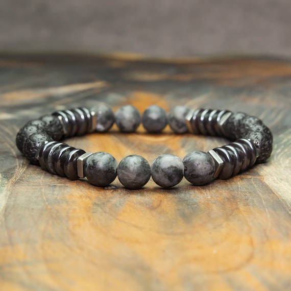 Men's bracelet Tibetan style beads 8mm stones Labradorite gray matte lava Volcanic black washer Hematite steel stainless steel made in France