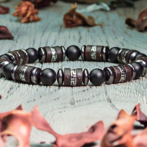 Sublime Bracelet Men/Men Style Tibetan Pearls -8mm Natural Stone Agate Black Matte Stainless Steel Hematite Wood Coconut Made in France