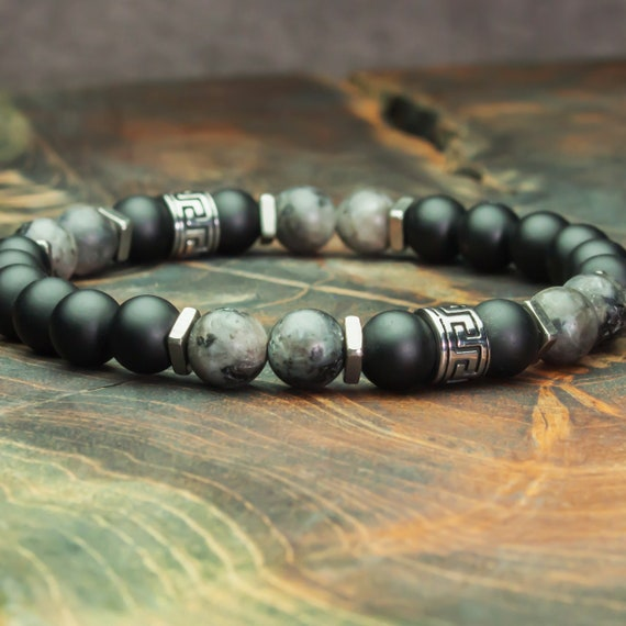 Men's bracelet Tibetan style beads 8mm Labradorite stones Grey matte Agate/Onyx black stainless steel/stainless steel made in France 1000ola