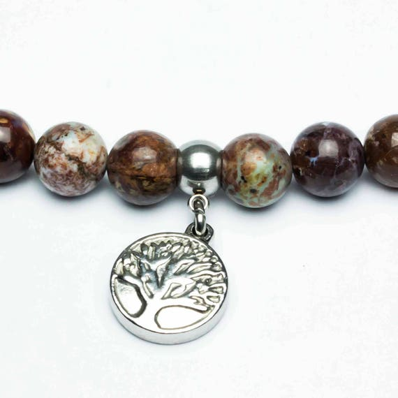Men's/Woman's pearl bracelet beads 8mm natural gem Opal pendant charm the Steel/Stainless Stainless Metal Life Tree Made in France