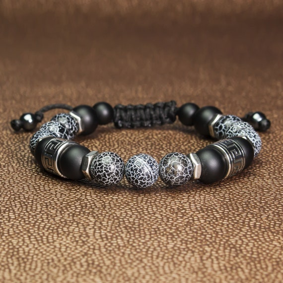 Bracelet men/men style Shambala Ø 10MM stone agate Onyx Spider Web beads antique style Tibetan metal stainless silver color