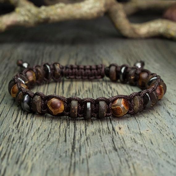 Bracelet men beads Ø 8mm natural stone agate motif Tibetan Hematite wood Coco/coconut palm Brown BRATIR nylon