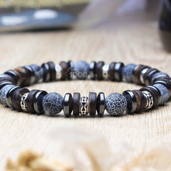 Man/woman Bracelet beads Ø 8mm natural Agate black wood coconut/coconut Hematite Metal Spider Web