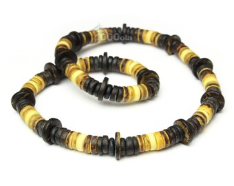 Necklace style surfer/surfing/men beads natural wood coconut/Coco Ø 8 mm - 10 mm P109