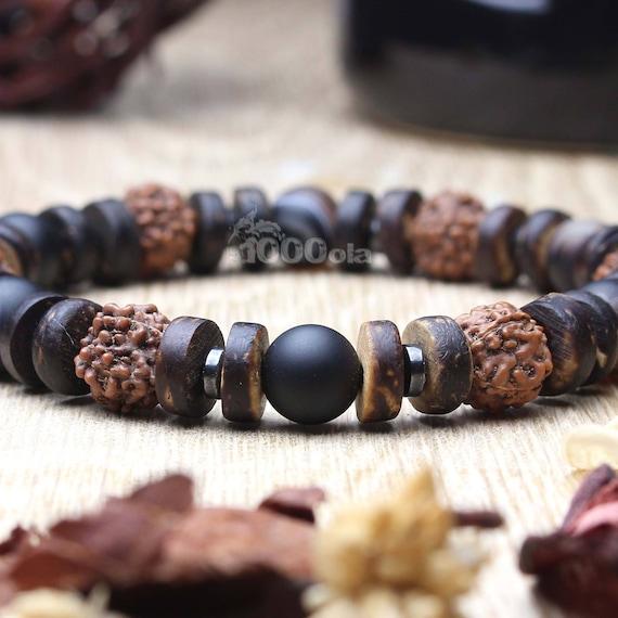 Beautiful men Bracelet natural stone Agate Brown beads Hematite seeds Rudraksha, wood coconut/coconut Ø 8 mm