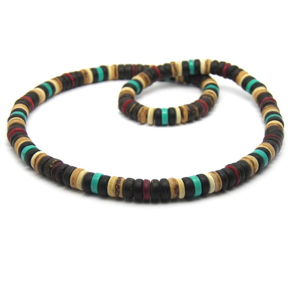 Male/female surfer/surf style necklace beads stone natural genuine Turquoise stabilized wood coconut/coconut Ø 8 mm CS-3