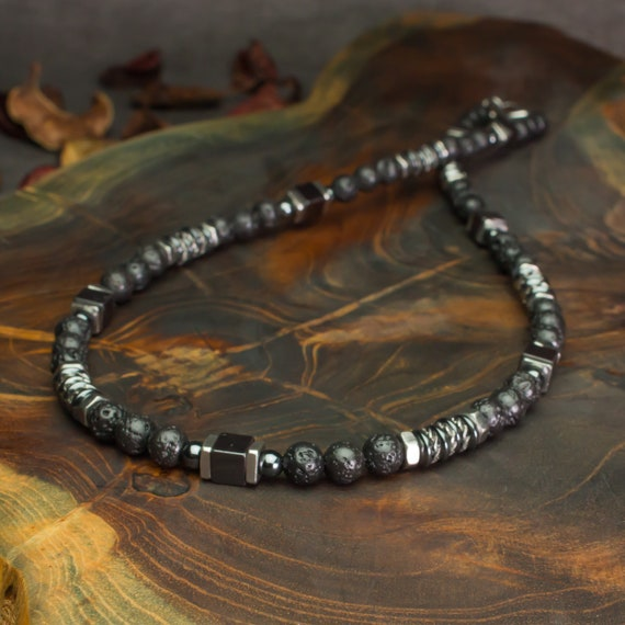 Men's necklace pearls 6mm stone Lava Volcanic Black cubes washers Hematite metal INOX Tibetan style Made in France creation 1000ola