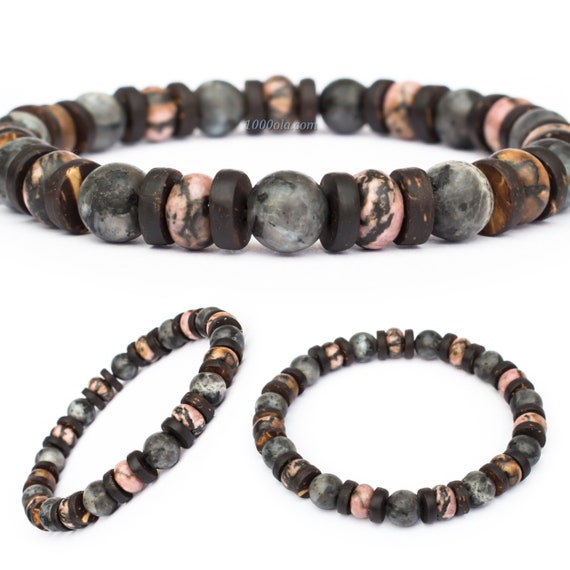 Men's Pearl Bracelet - 8mm Gemstones Rhodonite Larvikite Labradorite Grey Matte Wood Coconut/Cocotier Tibetan Style Made inFrance